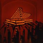 """""""Pianoforte""""  Installazione al MACRO di Roma, 2001 ferro e lampadine a fiamma 281x154x100 cm."""